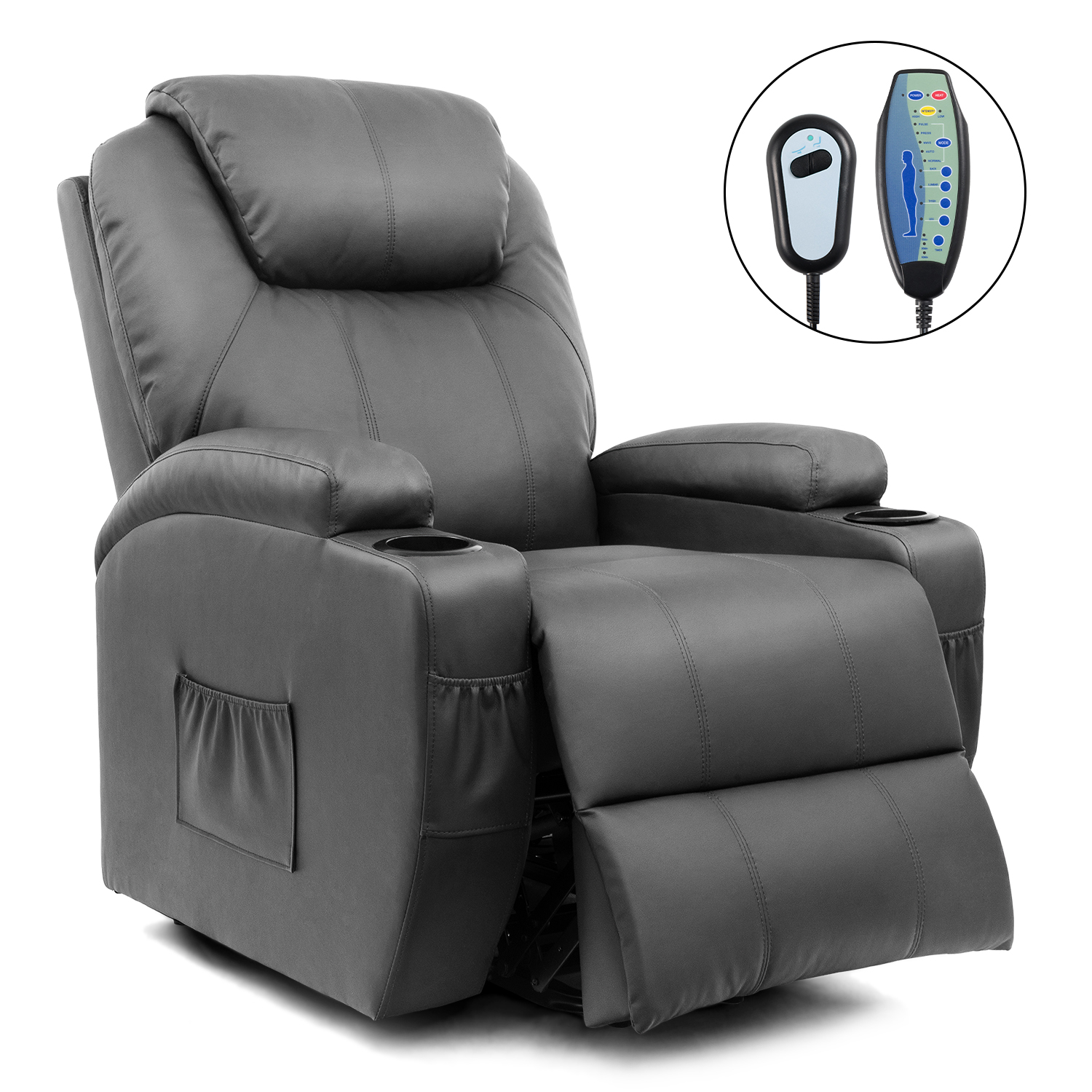 Walnew Power Lift Recliner with Massage and Heat